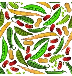 Green peas peanuts and beans pattern vector image