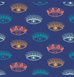 hand drawn boho eyes doodles pattern vector image