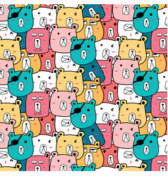 Hand drawn cute bear pattern vector