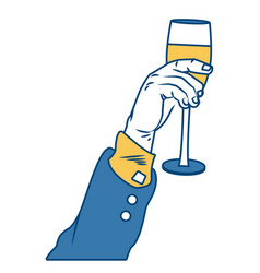 Hand with champagne cup pop art vector