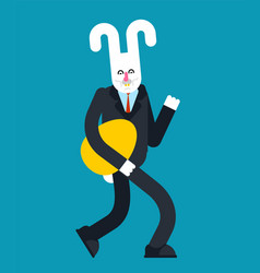 hare and egg rabbit businessman easter vector image