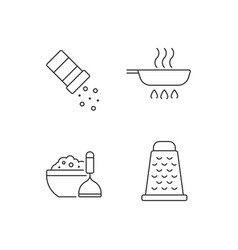 Home cooking linear icons set vector