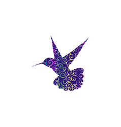 hummingbird bird spiral pattern color silhouette vector image