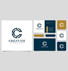 initial letter c logo line style design vector image