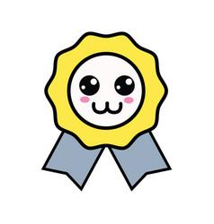 Kawaii cute happy medal prize vector