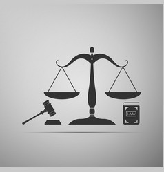 law and justice scales of justice gavel and book vector image