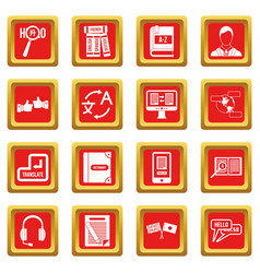learning foreign languages icons set red vector image