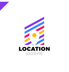 logo location map negative space symbol vector image
