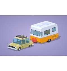 Low poly beige sedan with orange-white camper vector image