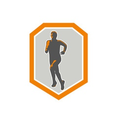 Marathon runner running front shield retro vector