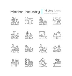 Marine industry linear icons set vector