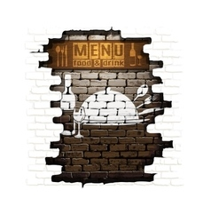 menu brick wall frame wooden boards plaster vector image