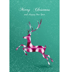 Merry Christmas abstract geometric reindeer card vector image