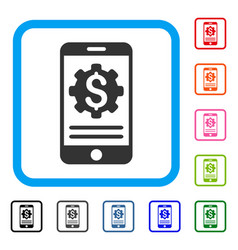 mobile bank options framed icon vector image