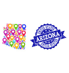 Mosaic map of arizona state with map pins and vector