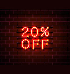 Neon 20 off text banner night sign vector