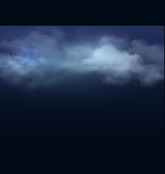 night sky clouds and stars realistic background vector image