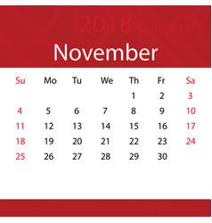 november 2018 calendar popular red premium for vector image
