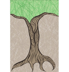 Oak tree trunk vector