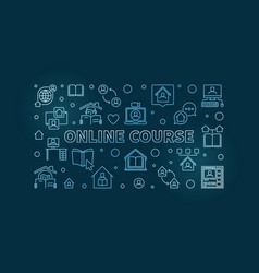 online course blue outline horizontal vector image