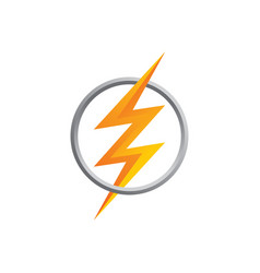Orange thunder bolt sign logo vector
