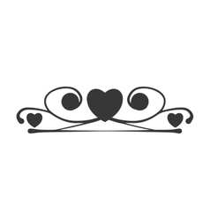 Ornament heart shape decoration icon vector