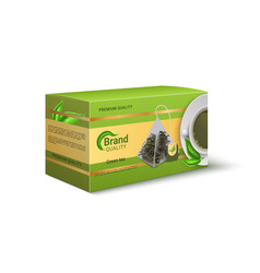 Packaging green tea realistic product pack vector