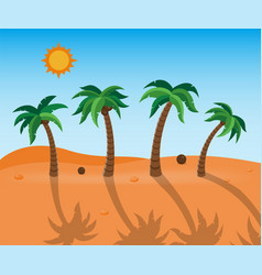 Palm trees with long shadow on desert landscape vector