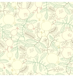 Pattern of linear pomegranate and apple tree vector