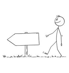 person walking on path or way empty arrow vector image