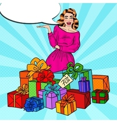 Pop Art Surprised Woman with Huge Gift Boxes vector image