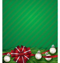 red christmas holiday bow and silver ornaments vector image
