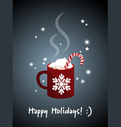 Red mug of hot chocolate vector