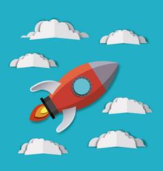 Rocket and clouds digital crafts vector