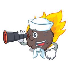 Sailor with binocular meteorite mascot cartoon vector