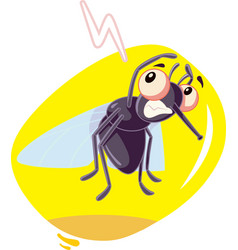 Scared fly insect cartoon vector