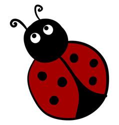 scared ladybug on white background vector image