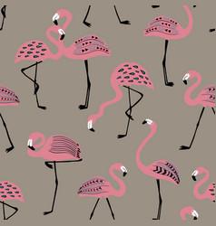 seamless pattern with folk art flamingo vector image