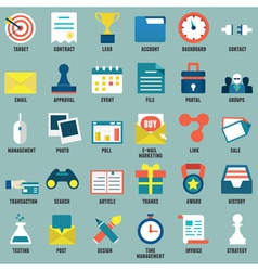 Set flat business commerce service icons vector
