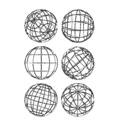 Set of abstract vintage globes vector image