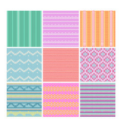 set of knitting fabrics vector image