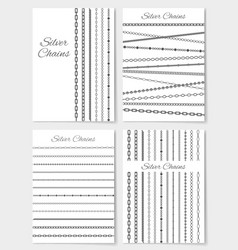 Set of silver chains layouts vector