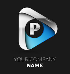 silver letter p logo in silver-blue triangle shape vector image