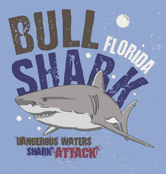 slogan shark attack fashion drawing tee print vector image