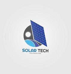 Solar energy with gear icons template logo vector