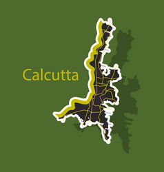 Sticker calcutta map city with borders of the vector