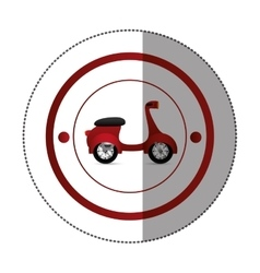 Sticker with circular shape with colorful scooter vector