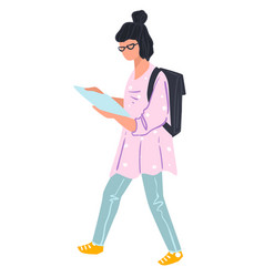 student girl looking at page and walking vector image