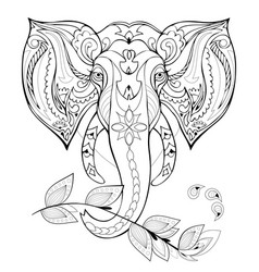 Stylized indian elephant head black and white vector