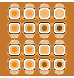 Sushi pattern on color background flat style vector